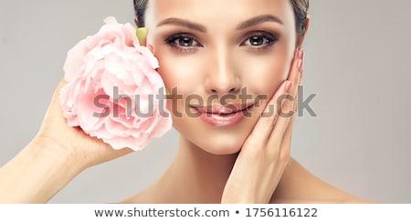 女性 · 花 · 眼 · 愛 · 美 · 歯 - ストックフォト © smithore