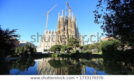 Barcelona família katedrális építész építkezés kereszt Stock fotó © lunamarina