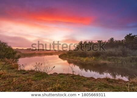 Восход берег реки красивой Дунай Сербия воды Сток-фото © simply