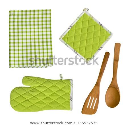 Zöld konyha kesztyű szakács főzés szakács Stock fotó © ozaiachin