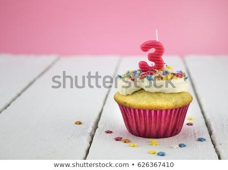 Stock photo: Three-year birthday girl