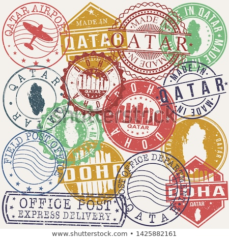 Posta Katar görüntü damga harita bayrak Stok fotoğraf © perysty