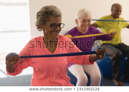 Idős emberek tornaterem férfi sport fitnessz Stock fotó © photography33
