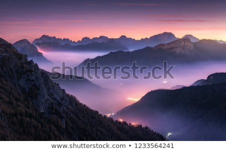 beautiful mountain landscape with low clouds stock photo © maxpro