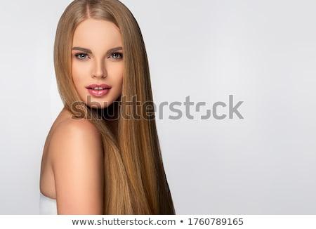Szőke nő haj visel fekete melltartó fehér Stock fotó © stryjek