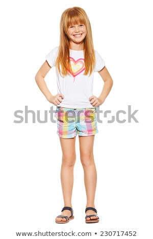 девушки футболки шорты изолированный белый Сток-фото © acidgrey