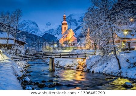 dorp · bergen · achtergrond · bomen · groene · kerk - stockfoto © joyr