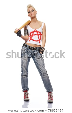 Stock photo: Portrait of young woman with a bat