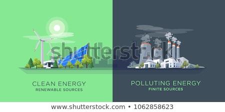 Groene landschap stad nucleaire energiecentrale weg Stockfoto © WaD