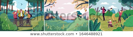 Woman with binoculars observing nature Stock photo © photography33