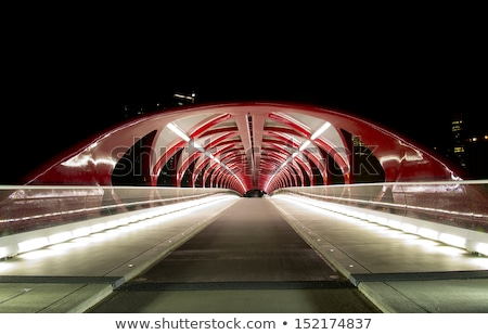 calgary · voetganger · brug · boeg · rivier · winter - stockfoto © jewhyte