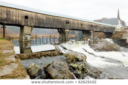 kapalı · köprü · New · Hampshire · ABD · inşaat · binalar - stok fotoğraf © phbcz