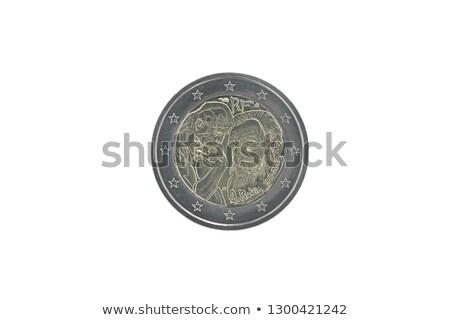 Euros argent pièces sculpteur isolé blanche Photo stock © vwalakte