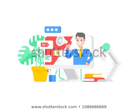 Young positive business man holding banner with world map and fa Stock photo © HASLOO