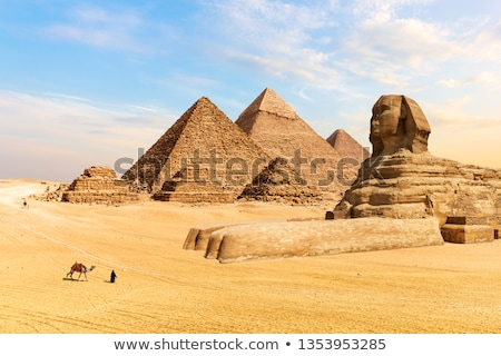 great sphinx of giza and the pyramid of khafre at giza egypt stock photo © tanart