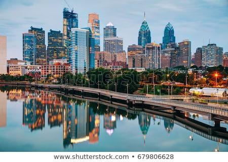 Philadelphia · ufuk · çizgisi · gün · batımı · arka · plan · kentsel · gündoğumu - stok fotoğraf © compuinfoto