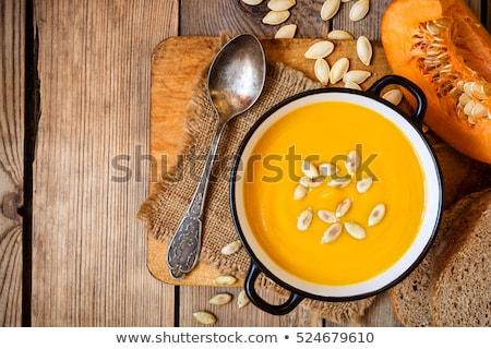 Tál leves sütőtök fehér fa asztal egészséges étrend Stock fotó © KelkoNiki
