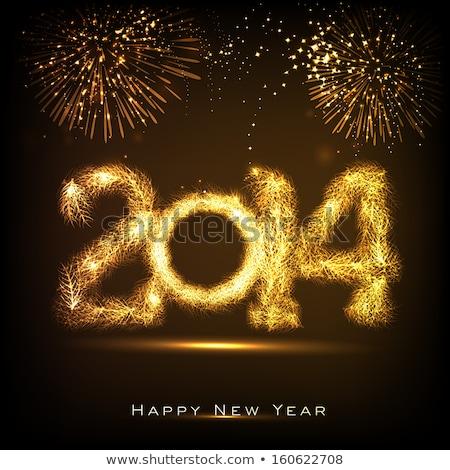 beautiful text happy new year 2014 brochure vector stock photo © bharat