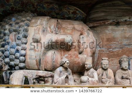 Stok fotoğraf: Kaya · Çin · eski · taş · Buda