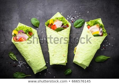 Tyúk spenót tortilla csomagolás szendvics tejföl Stock fotó © saddako2