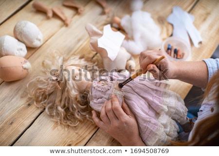 babák · kettő · csinos · kirakat · szemek · haj - stock fotó © leetorrens