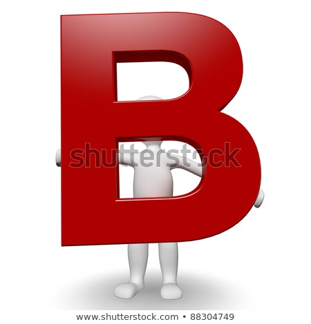 3D Human charcter holding red letter B stock photo © Giashpee