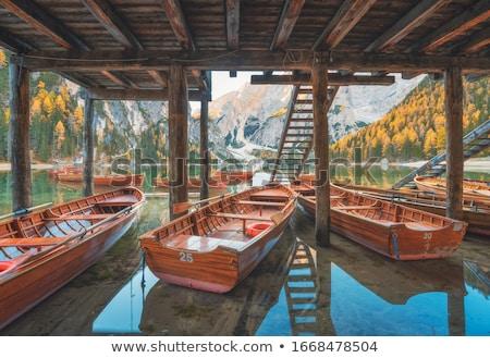 Arbres bateaux port lac nuages bois Photo stock © Geribody