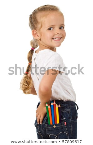 Little girl with lots of pencils in her pocket Stock photo © ilona75