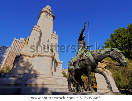 monument to miguel de cervantes in plaza de espana in madrid sp stock photo © nito
