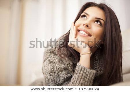 álmodik nő izolált fehér gondolkodik rajz Stock fotó © gemenacom