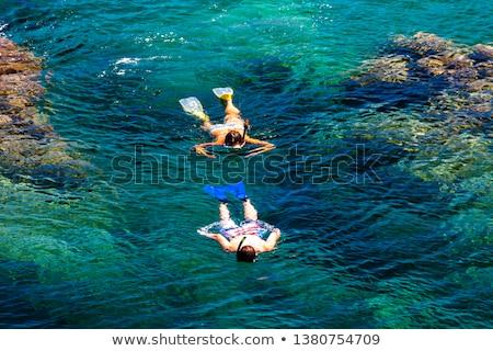 Snorkeling mediterrán tenger Franciaország nő nyár Stock fotó © phbcz