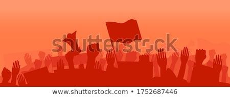 red silhouetted protesting people Stock photo © patrimonio