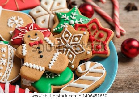 Natal bolinhos morango congestionamento prata madeira Foto stock © Kayco