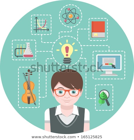 Genius boy and icons of his interests Stock photo © vectorikart