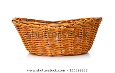 isolated round woven straw basket Stock photo © ozaiachin