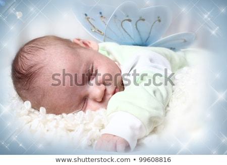 Stockfoto: Geboren · kind · illustratie · baby · sterren · Blauw