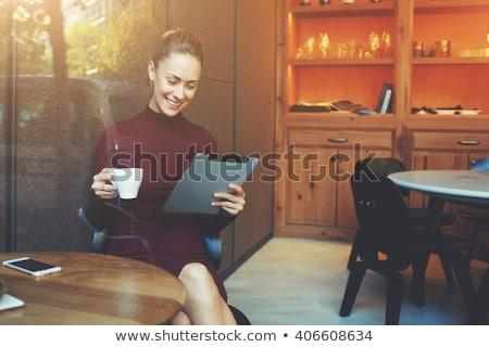 Ipad чай рабочих домой работу таблице Сток-фото © Hofmeester