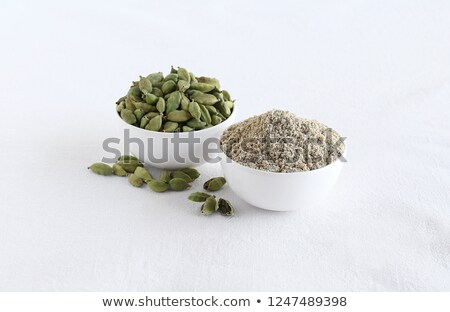 front view of bowl of organic green cardamom stock photo © ziprashantzi