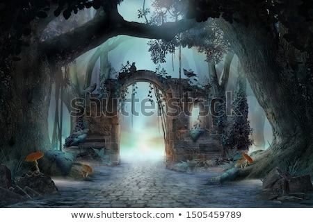 Horror ścieżka lasu ponury naturalnych tunelu Zdjęcia stock © smithore