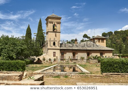 View of Parador and gardens in Alhambra Stock photo © backyardproductions