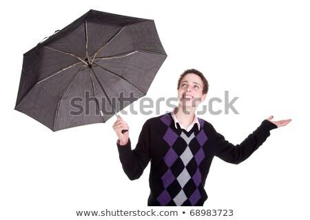 fiatal · srác · esernyő · izolált · fehér · stúdiófelvétel · férfi - stock fotó © alexandrenunes