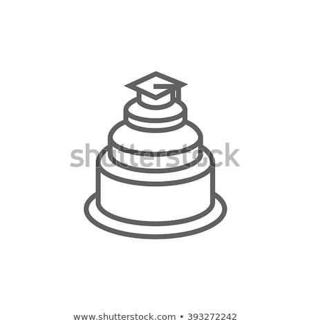 graduação · boné · topo · bolo · linha · ícone - foto stock © rastudio