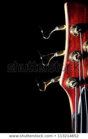 Сток-фото: Bass Guitar Fingerboard Head With Pins And Strings