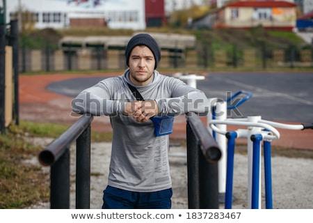 Jungen Bodybuilder schauen müde Kamera Mann Stock foto © wavebreak_media
