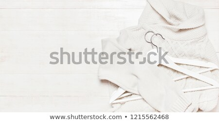 Retro cloth hanger on rustic wooden background, top view Stock photo © stevanovicigor