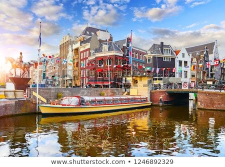 Heykel kraliçe Amsterdam bayrak mimari Stok fotoğraf © vladacanon