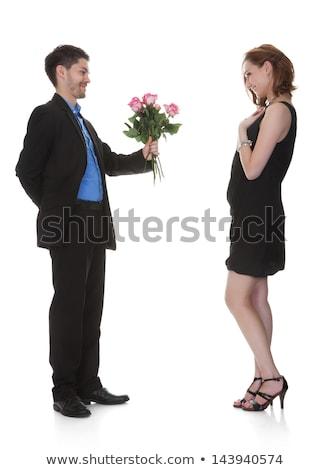 Férfi felajánlás virágok dolgozik partner lány Stock fotó © pixinoo