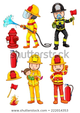 Simple boceto bomberos ilustración blanco nina Foto stock © bluering