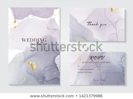 Invitation de mariage affiche design couleur pour aquarelle effet eau Photo stock © SArts