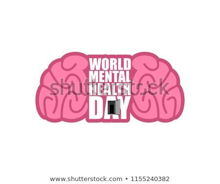 world mental health day emblem symbol of human brain grunge st stock photo © popaukropa